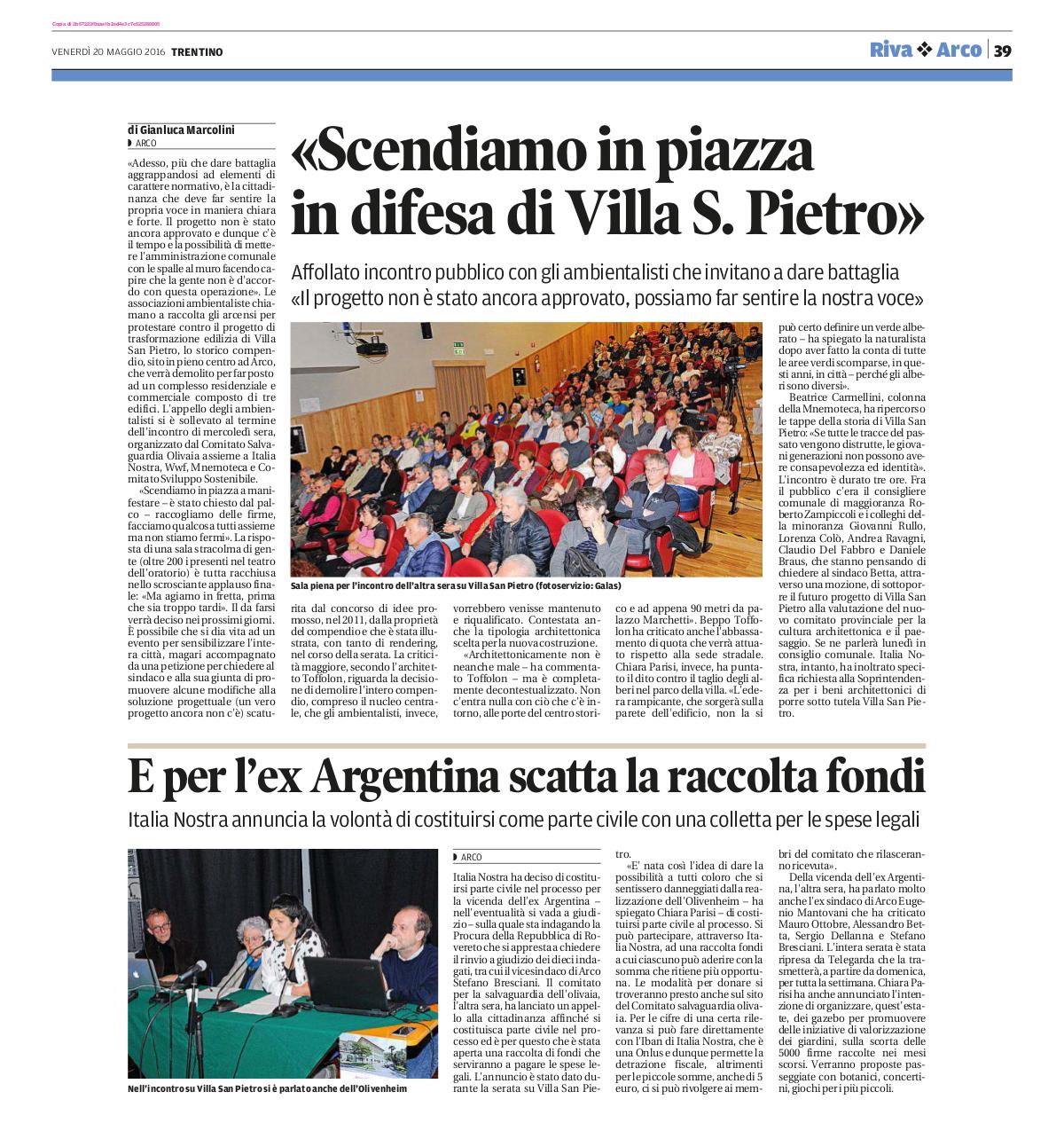2016 05 20 Trentino - Arco, in difesa di villa S. Pietro e ex Argentina