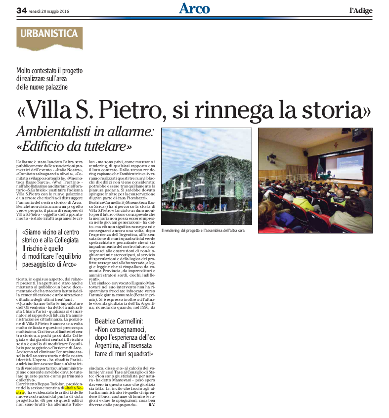 2016 05 20 l'Adige - Arco, Villa San Pietro, si rinnega storia, serata