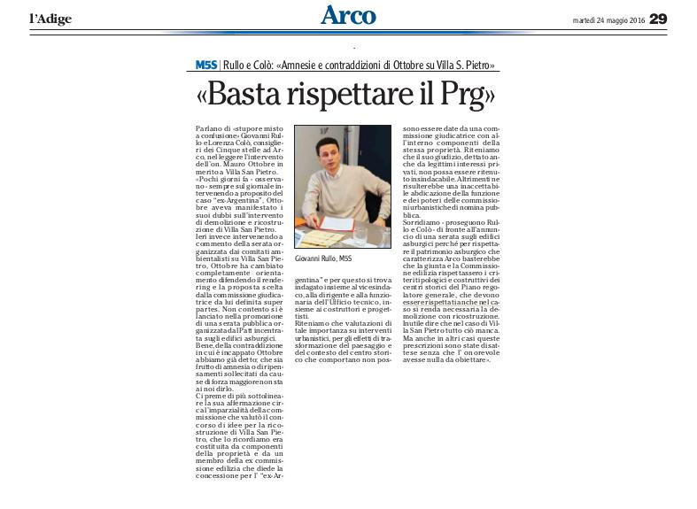 2016 05 24 l'Adige - Arco, Villa san Pietro, le contraddizioni di Ottobre