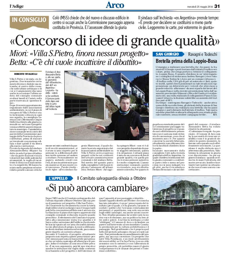 2016 05 25 l'Adige - Arco, Villa San Pietro, si puo ancora cambiare